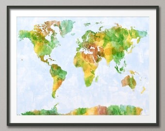 Map of the World Map Watercolor Painting, Art Print (139)