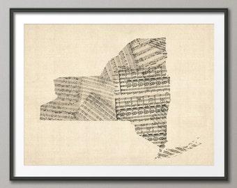 New York State Old Sheet Music Map USA, Art Print (339)