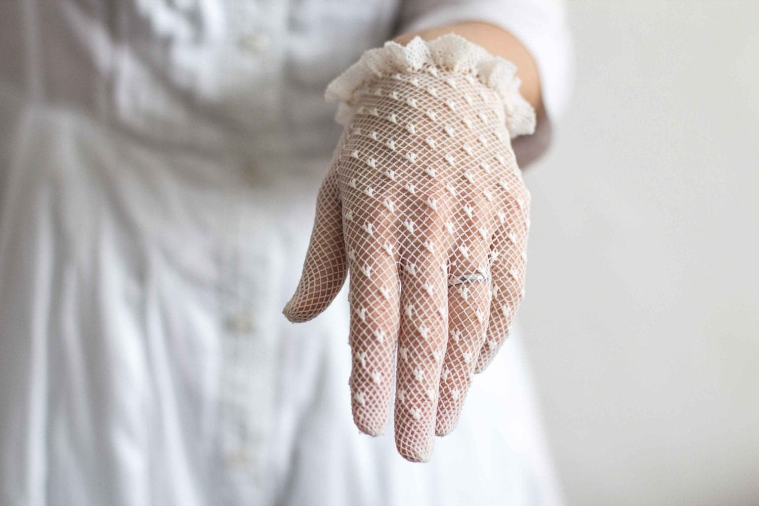 transparent white crochet lace gloves for by theapronsociety