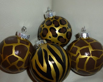 Christmas Ornaments in Animal Prints Leopard, Zebra and Giraffe