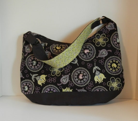 RESERVED for Margaret-Zippered Hobo Tote, Ready to Ship