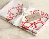 Christmas Holiday Tea Towel Snowflake Red Kitchen Dish Cloth Linen Screen Print Hand-Printed Hostess Hostess Gift Single Towel