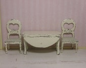 SALE Dollhouse Miniature One Inch Scale Dining or Kitchen Table and Chairs, Extra Fabric on Request