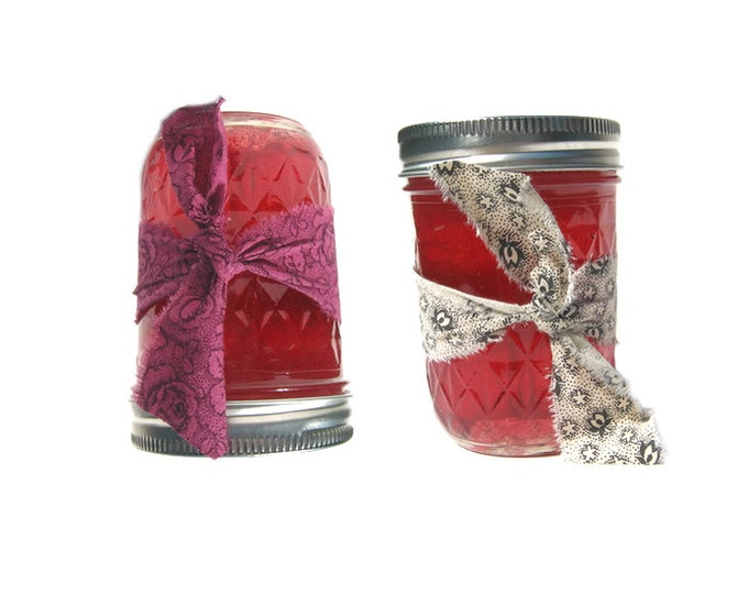 Scented Jelly Gel Candles Set 2 Custom Mason Jar Candle Country Primitive Farmhouse Decor French Country Home Fragrance Aroma Fruit