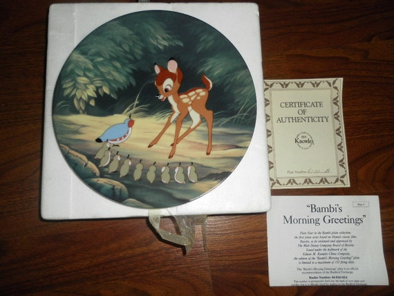 Rare Bambi's Morning Greeting 1992 4th Ed Collector Plate