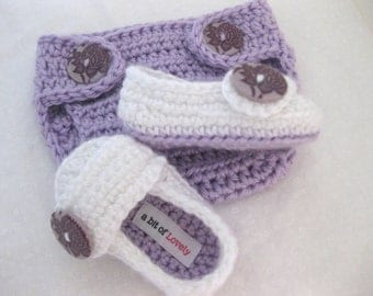 Newborn, Baby Girl, Shoes, Slippers, Booties, Diaper Cover, Crib Shoes, Purple, White, Photo Prop