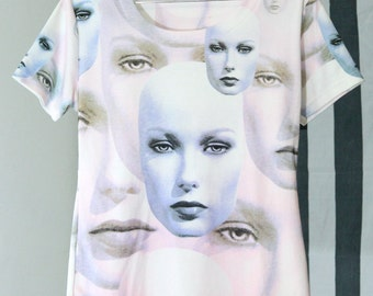 SICK Beautiful Digital Pastel Face Print Shirt