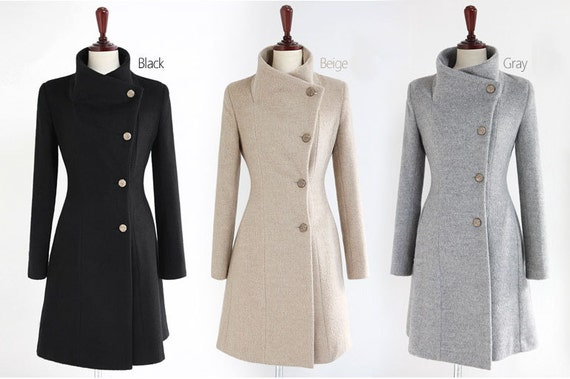 GRAY WOOL JACKET WOMEN COAT WINTER JACKET AUTUMN BY FASHIONDRESS6 ...