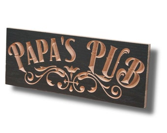 Custom Bar Sign, Pub Sign, Carved Wood Sign, Irish Pub Sign, Custom Bar Signs, Beer Sign, Rustic Man Cave Sign, Benchmark Signs Maple PU
