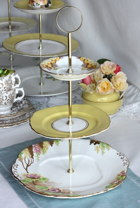 RESERVED FOR NICOLE Summer 3 tier cupcake / cake stand: just perfect for high tea in the garden or a lovely gift for a 'wisteria lover'