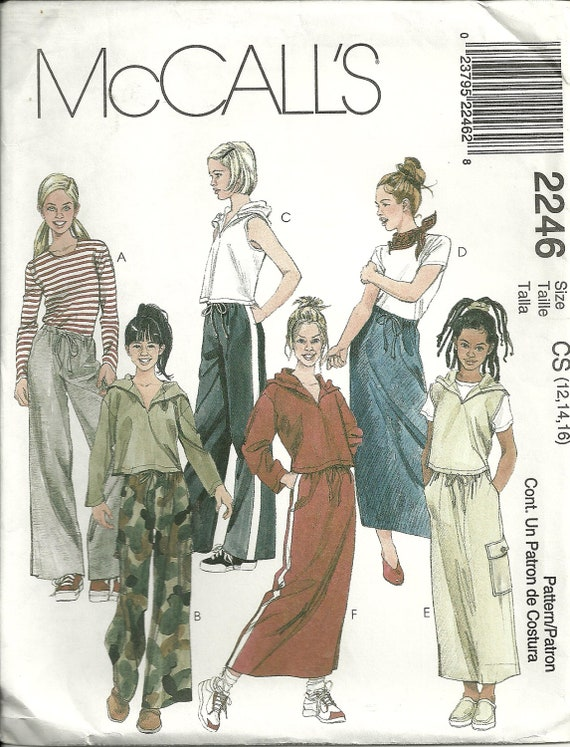 Girl's Hooded Top, Skirt and Pants Pattern McCall's 2246 Sizes 12 14 16