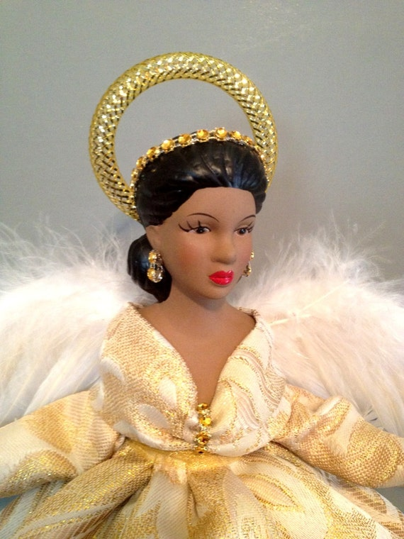 African American Angel - Gold Brocade - Christmas Angel Tree topper - Free Personalization