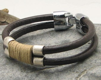 Birthday gift for him, Men's bracelet leather, brown and natural leather with  silver plated.Leather bracelet.Gift for dad.