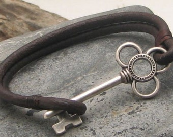 EXPRESS SHIPPING Women's leather bracelet Brown leather multi strap women's bracelet with silver plated key clasp.Gift for her.