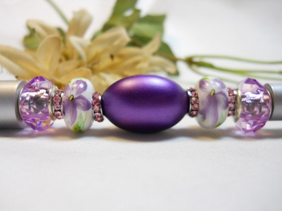 Beaded Ink Pen Lilac Love Letters European Style