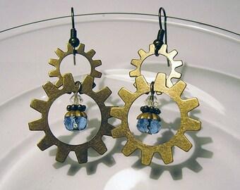 SALE: Brass Clockwork (One Jewel) - Brass and Sapphire Crystal Steampunk Earrings