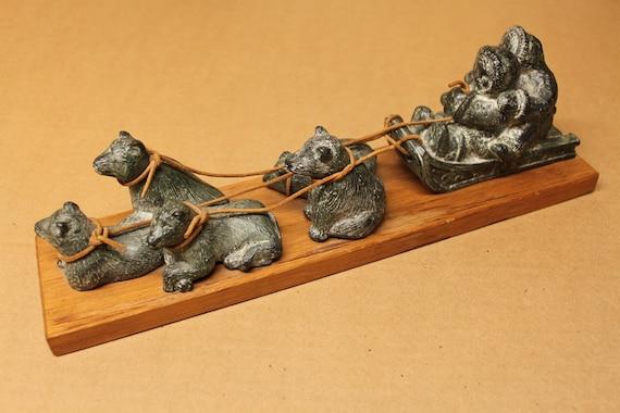 Inuit Dog Sled Soapstone Carving Sculpture