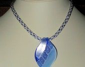 Royal Blue and White Kumihimo Necklace with Lampwork Pendant