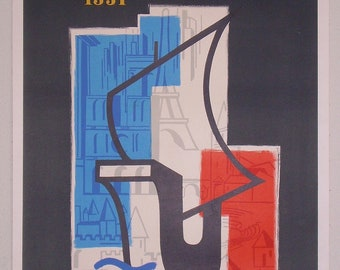 Original vintage french travel poster celebrating the Paris 2000 year by Romiers