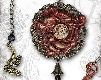 Red Chinese Dragon Steampunk Long Necklace by Za Dee Da - The Mystic Seeker Collection - Year of the Dragon