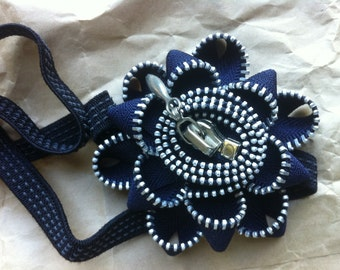 Headband with Navy Blue and Silver Zipper Flower
