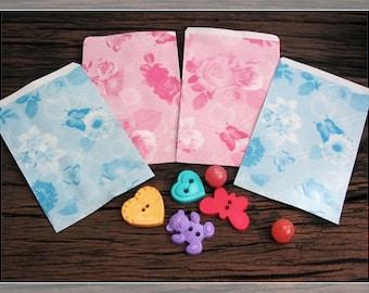 Mini vintage kraft paper bag with flower pattern/Gift Bag/ 100 Pcs./2 Color /Blue and Pink
