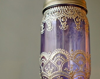 Mason Jar Lantern- Lavender Glass with Silver Henna Accents