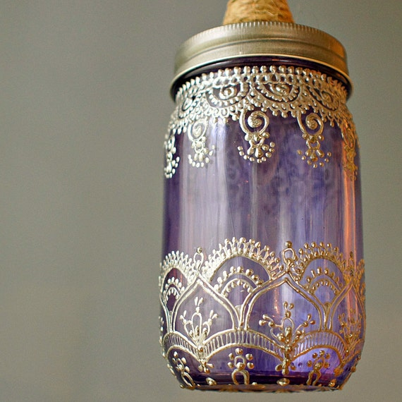 Mason Jar Lantern Pendant Light, Lavender Glass with Silver Accents and Jute Wrapped Cord