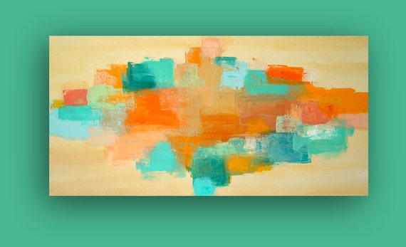 "Turquoise and Orange Abstract Acrylic Art Painting Titled: INDIAN SUMMER 24x48x1.5"" Original Art by Ora Birenbaum"
