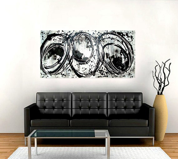 "Black and White Abstract Acrylic Original Painting Fine Art on Gallery Canvas Titled: STATIC 24x48x1.5"" by Ora Birenbaum"