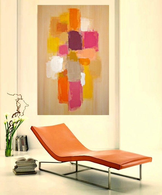 """RESERVED. Original Abstract painting made special custom order for a client Titled: Sophistication 24x36x1.5"""" by Ora Birenbaum"""