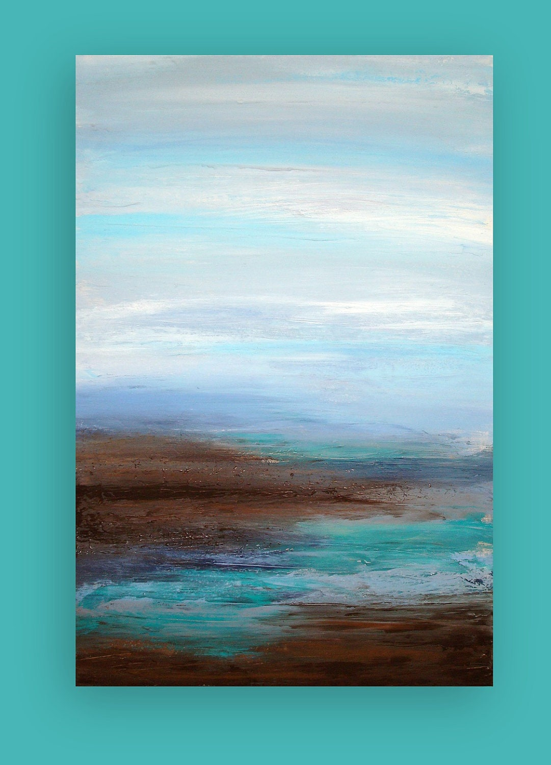 Original Ocean Abstract Acrylic Painting Titled: Coastal