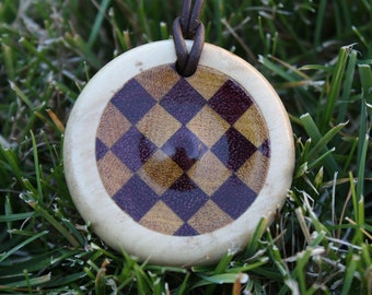 Wood Pendant with Checkered Pattern J8
