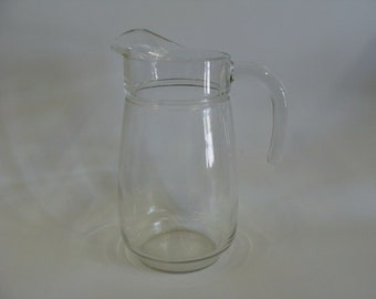 Footed Clear Glass Water Milk Juice Pitcher Jug with an Ice Lip, Kitchen Glassware, Kitchenware