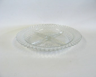 Round Clear Glass Divided Relish Tray, Four Section Serving Dish, Serving Glassware