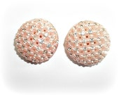 RESERVED Shabby Pale Pink and Clear Rhinestone Clip On Earrings