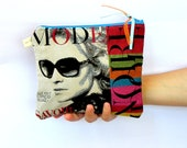 Modern Clutch, Evening Bag,  Red and turquoise Make up Pouch, Cosmetic Bag, Handbag