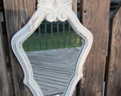Vintage Antiqued White Ornate mirror