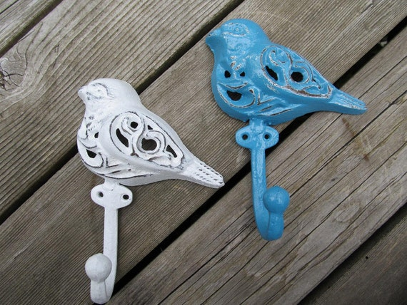 two Shabby Chic Bird Hooks