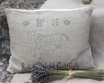 European Grain Sack Cushion - Equestrian