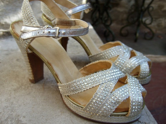 RESERVED for Anita 1940s  Amazing Silver Metallic Platform Shoes