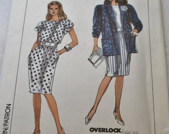 Vintage 1980's Simplicity Easy to Sew Misses' / Misses' Petite Dress and Unlined Jacket - Pattern 9045- UNCUT
