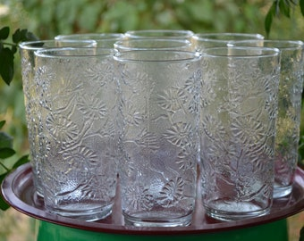 Vintage Anchor Hocking Clear Daisy Tea Water Glasses Set of 9