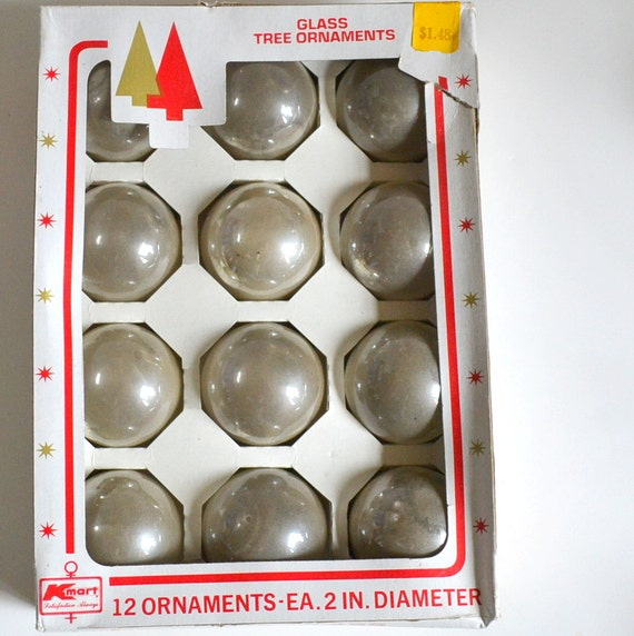 Vintage Christmas Ornaments Clear Silver Glass Balls w/ Original Box Set of 12 Matching 2 inch. Made in U.S.A. Shiny Luster