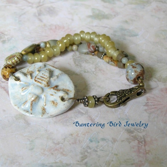 Ceramic Bee Bracelet Three Strand Beaded Bracelet Jasper Light Blue Boho