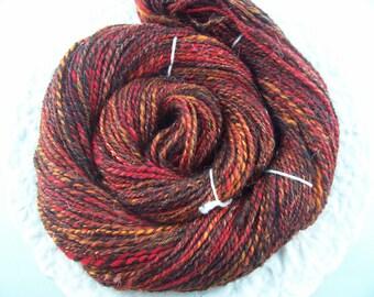 Handspun Yarn Brown Red Orange Sparkle 144 yds 2ply