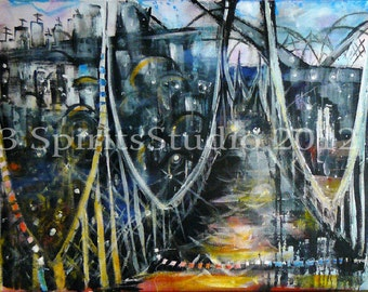 """Giclee Print of Original Abstract Painting- """"Soaked Arches"""""""