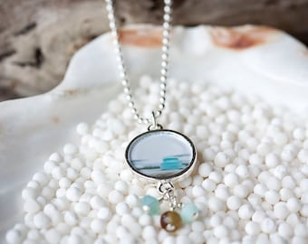 Pendant - Wearable Art - Jewelry - Photography - Necklace - Sterling Silver - Gift For Her - Beach Glass