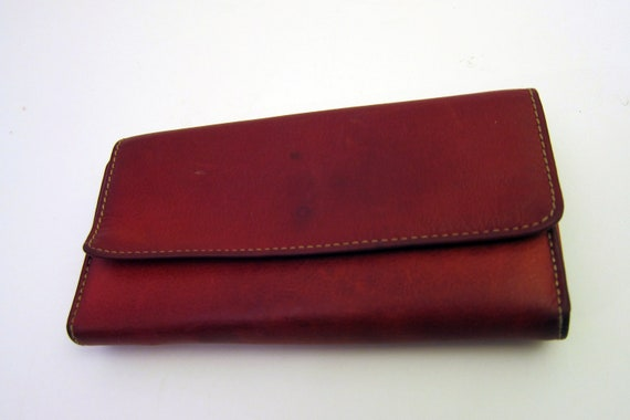 Leather Coin Purse Vitnage Wallet Deep  Red Leaher Coin Purse