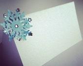Escort Place Table Name Card for Calligraphy Pearl Paper - winter snowflake
